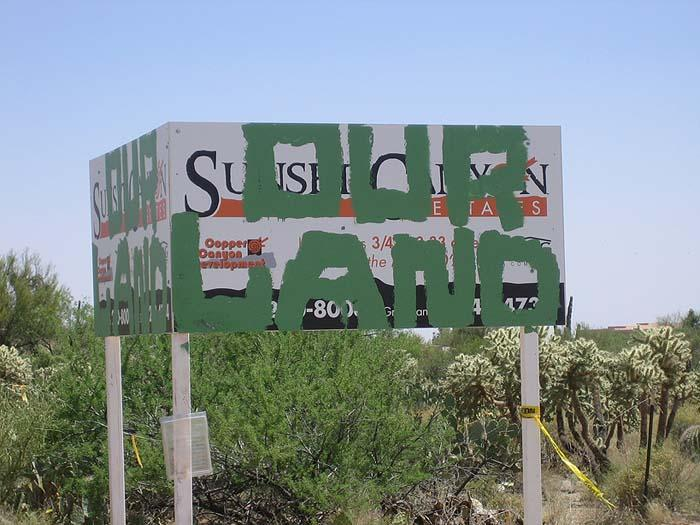 Vandals deface sign at construction site