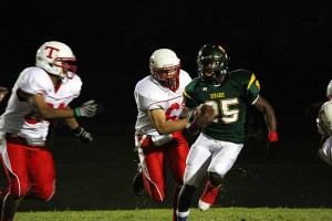 Hard Running : J.D. Fitzgerald/Special to The Explorer, Canyon Del Oro running back Ka'Deem Carey is posting the biggest numbers in Southern Arizona this football season. Last Friday, in a 27-9 win over Tucson, Carey rushed for 207 yards and touchdowns of 96 and 69 yards. The junior and his teammates, 3-0 on the season, play at Queen Creek in a special Thursday kick-off.