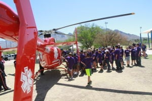 Drug Awareness Day: Students line up to sit inside Arizona LifeLineÕs helicopter.  - Randy Metcalf/The Explorer