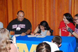 Several school athletes sign to college teams