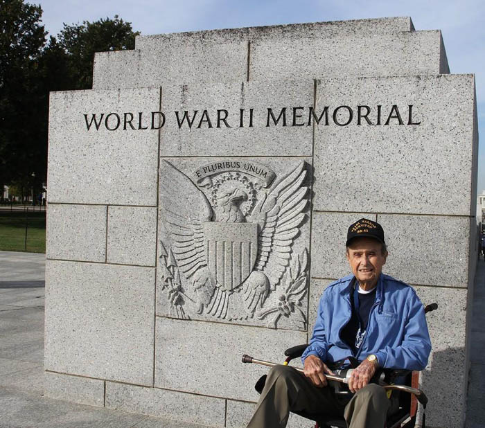 Paul Fields visiting World War II memorial