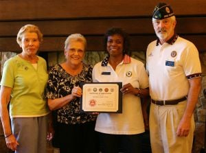 Homeless Veterans: Splendido's former Outreach Chair Julia Zahn, at left, Splendido's Ambassador Committee Chair Jane Aslaksen, President of Oro Valley American Legion Auxillary and Onida Davis and American Legion Oro Valley Post #132 Commander, Ed Davis.  - Courtesy Photo