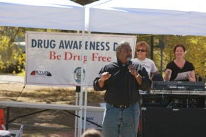 Drug Awareness Day: Oro Valley Mayor Satish Hiremath speaks at the annual Drug Awareness Day on Friday.  - Randy Metcalf/The Explorer