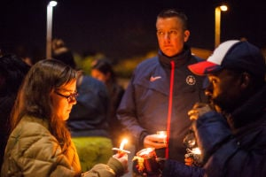 Lezo Urreiztieta: University of Arizona track coaches as well as Athletic Director Greg Byrne attended the vigil for Lezo. - J.D. Fitzgerald/The Explorer