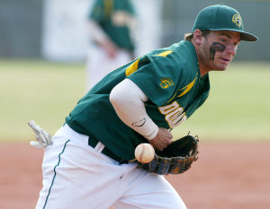 Canyon Del Oro Vs Ironwood Ridge Baseball: CDO third baseman Tyler Brown gets in front of a shot down the baseline. - Randy Metcalf/The Explorer