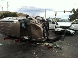 Fire following car accident put out by good samaritan