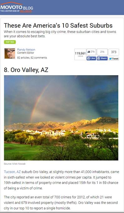 Oro Valley named 8th safest suburb in America