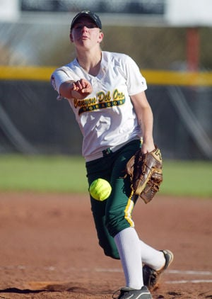 Canyon Del Oro Vs Mountain View Softball: CDO pitcher Randi Longville sends a pitch towards the plate during last week's game against Mountain View.  - Randy Metcalf/The Explorer