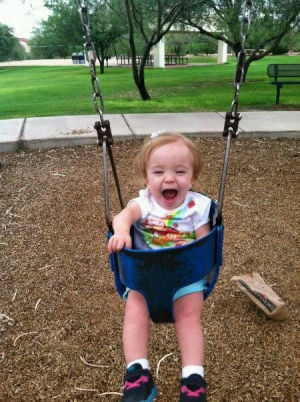 Bella And Sophia: Sophia can now be seen smiling and swinging.  - Courtesy photo