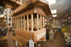 The Wild Bird Store: This bird feeder, aptly named Mini Parthenon, is designed to keep larger birds out, while allowing smaller birds to have access to the feed. - Randy Metcalf/The Explorer