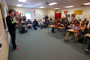 NASCAR Racecar Driver Alex Bowman: Alex Bowman, who is a professional NASCAR racecar driver, used to go to Ironwood Ridge High School. Last week, Bowman stopped by Ironwood Ridge and Canyon Del Oro High School to talk with students.  - Randy Metcalf/The Explorer