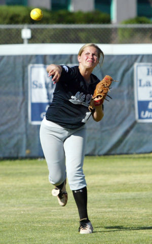 Ironwood Ridge Vs Mountain View Softball: Mountain View High School's Kailey Mellen throws the ball in from the outfield.  - Randy Metcalf/The Explorer