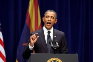 President Obama: President Barack Obama at a speech in Tucson.  - Randy Metcalf/Explorer Newspaper
