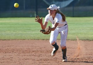 Ironwood Ridge Vs Mountain View Softball: Alex Rapp fields a grounder.  - Randy Metcalf/The Explorer