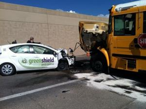 School bus collision with Toyota Prius