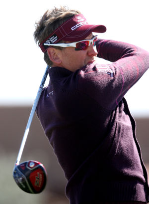 Accenture Match Play Championship: Ian Poulter, who finished fourth, tees off on the 11th hole Sunday.  - Randy Metcalf/The Explorer