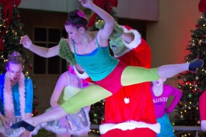 Marana Christmas: The Grinch lifts Whitney Kimmel in a performance by Tucson Dance Academy. - Hannah McLeod/The Explorer