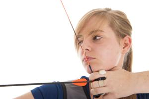 Girl Aiming With Bow And Arrow In Closeup