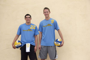 MHS Volleyball: Senior captains on the Marana High School boys volleyball team, Jeff Carranza (left) and Evan Boyack (right), lead their team with a current 6-3 record. Carranza leads the team with his consistent setting and vocal leadership while Boyack makes his presence known through his hard work and outside hits.  - Hannah McLeod/The Explorer