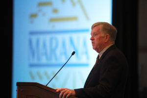 Marana State Of The Town: Marana Mayor Ed Honea speaks of infrastructure, strategic planning and important partnerships during the State of the Town address.  - Randy Metcalf/The Explorer