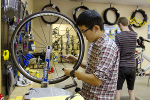 BR Bicycle Ranch: Daniel Chung fixes a tire at BR Bicycle Ranch. The cycling shop opened on Sept. 28 and is located on Ina and Oracle roads. - Hannah McLeod/The Explorer