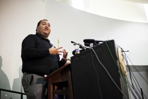 Loughner Sentence: Jan. 8 shooting victim Daniel Hernandez, Jr. speaks at the Federal courthouse after the sentencing of Jared Loughner.  - J.D. Fitzgerald/The Explorer