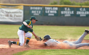 Canyon Del Oro Vs Ironwood Ridge Baseball: CDO's Leo Khawam gets the tag as Ironwood Ridge's Ethan Oglesby tries to steal second base.  - Randy Metcalf/The Explorer