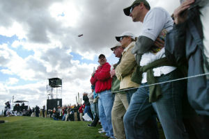 Accenture Match Play Championship: Crowds gathered at the first hole as Rory McIlroy made his way down the fairway Thursday.  - Randy Metcalf/The Explorer