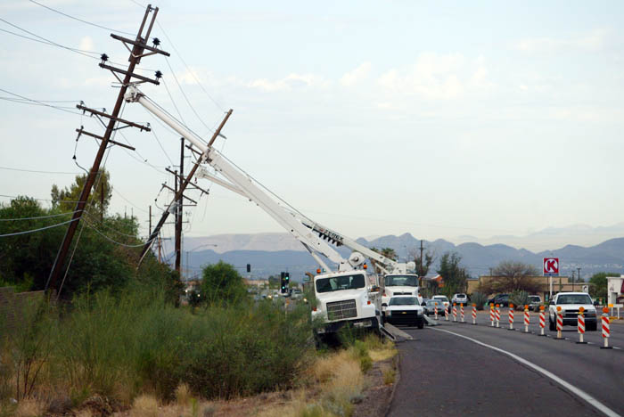 Power lines downed by storm