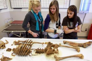 Canyon Del Oro Forensics Class: Canyon Del Oro High School forensics class students Joelle Stack, left, Abby Fife, middle, and Mikaela Cleland, right, look over the remains of a woman at the Pima County Medical Examiner's Office last week. The class took a tour of the office for some real-world experience and to prepare for their state competition next month.  - Randy Metcalf/The Explorer