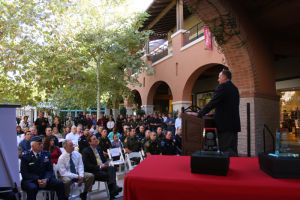 Heroes Day: University of Arizona head football coach Rich Rodriguez speaks during the Heroes Day celebration at La Encantada. - Randy Metcalf/The Explorer