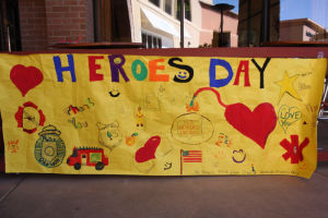 Heroes Day: Students from Mrs. Forszt's fifth-grade class at Hendricks Elementary School made a poster to thank first responders. - Randy Metcalf/The Explorer