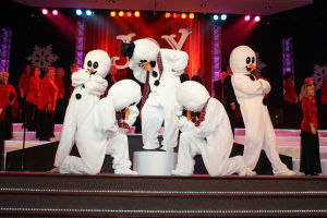 OV Church Of Nazarene Christmas Production: Matt Norvelle, Aaron Stidham, Neal Girdler, Shaun Gray, and Jonathan Burros dress up as snowmen at last years Christmas production hosted by Oro Valley Church of the Nazarene. - Oro Valley Church of the Nazaren