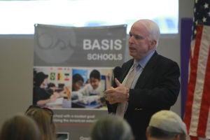 U.S. Sen. John McCain Town Hall Address: During his town hall address, U.S. Sen. John McCain fielded questions and comments from the audience gathered at BASIS School in Oro Valley.  - Randy Metcalf/The Explorer