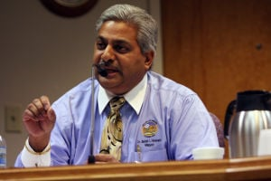 Oro Valley Mayor Satish Hiremath: Mayor Satish Hiremath became agitated during the Jan. 16 council meeting. The discussion over a reappointment to a community board quickly became heated.  - Randy Metcalf/The Explorer