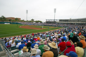 Spring Training: A sold-out crowd of more than 11,000 baseball fans made their way to one of the two spring training games in Tucson this year where the Dodgers played the Cubs.  - Randy Metcalf/The Explorer