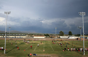 Falcon Football Jamboree: Middle schools take to the fields during the 4th Annual Falcon Football Jamboree. Teams played for 40 minutes, switching from offense to defense every 10 plays. - Randy Metcalf/The Explorer