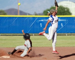 Marana Vs Desert Ridge Softball: Marana High School's Hailey Oesterling reaches for a toss at second base during last week's playoff game against Mesa's Desert Ridge. The Tigers lost 2-6.  - Randy Metcalf/The Explorer