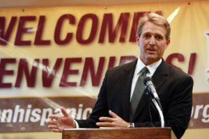 U.S. Senator Jeff Flake: U.S. Senator Jeff Flake spoke at the Tucson Hispanic Chamber of Commerce Monday about immigration reform. Flake's plan will allow illegal immigrants citizenship after a 10-year work-probation period.  - Randy Metcalf/The Explorer