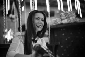 Black And White Photo Of Smiling Bartender Girl