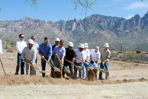 Securaplane Groundbreaking: Members of the Oro Valley Town Council and members of Securaplane Technologies held a groundbreaking ceremony earlier this month.  - Randy Metcalf/The Explorer