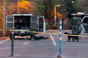 U Of A Gun Threat: Tucson Police Department Bomb Squad arriving on scene with K-9 units and breaching equipment at the University of Arizona where a man was seen walking in the Administration building with a rifle.  - J.D. Fitzgerald/The Explorer