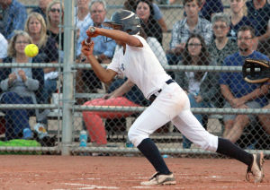 Ironwood Ridge Vs Canyon Del Oro Softball: Ironwood Ridge's Reina Bondi sets up for a bunt.  - Randy Metcalf/The Explorer