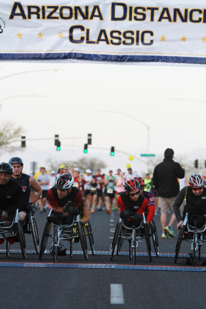 Arizona Distance Classic: Racers in the wheelchair division of the half marathon await the start of the race.  - Randy Metcalf/The Explorer