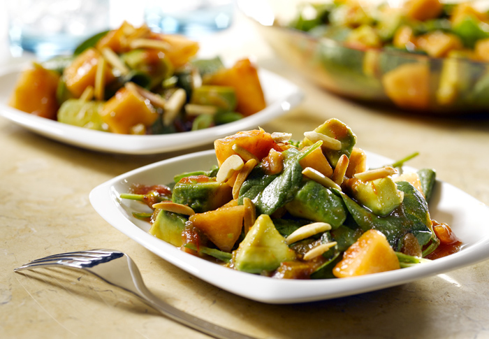 Avocado Melon Salad & Picante Honey Dressing