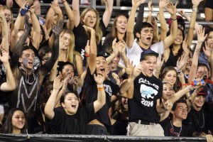 Mountain View Vs Cienega High Schools Football: Mountain View High School students fill the student section, known as the Black Hole., during Friday night's game against Cienega. The Mountain Lions shut out the Bobcats 21-0. - Randy Metcalf/The Explorer