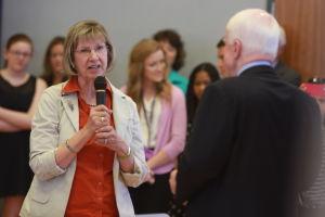 U.S. Sen. John McCain Town Hall Address: Pam Simon, who was shot on Jan. 8, 2011, thanks U.S. Sen. John McCain for voting for extended background checks for the purchase of guns.  - Randy Metcalf/The Explorer