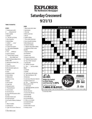 Saturday Crossword 9-21-13