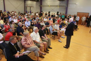 U.S. Sen. John McCain Town Hall Address: U.S. Sen. John McCain speaks to an audience gathered for his Town Hall Address as BASIS School in Oro Valley last week.  - Randy Metcalf/The Explorer
