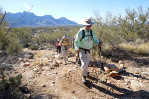 10,000-Mile Hikers: Bob Esparza makes his way up the 50-year Trail ahead of his wife Leslie Esparza with whom he has hiked more than 10,000 miles.  - Randy Metcalf/The Explorer